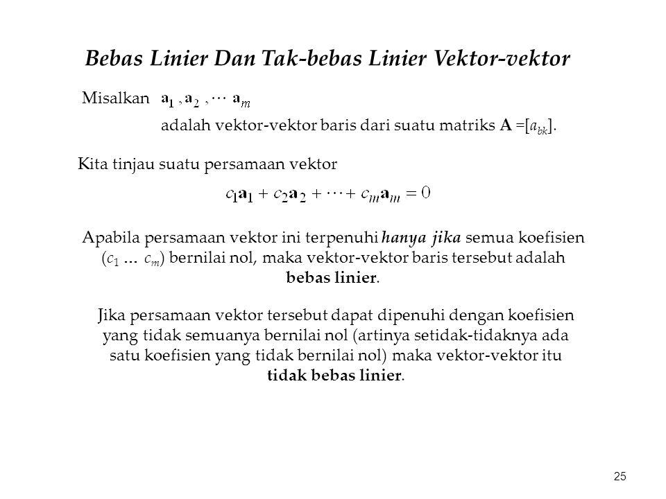 Bebas Linier Dan Tak-bebas Linier Vektor-vektor Misalkan adalah vektor-vektor baris dari suatu matriks A =[a bk ]. Kita tinjau suatu persamaan vektor