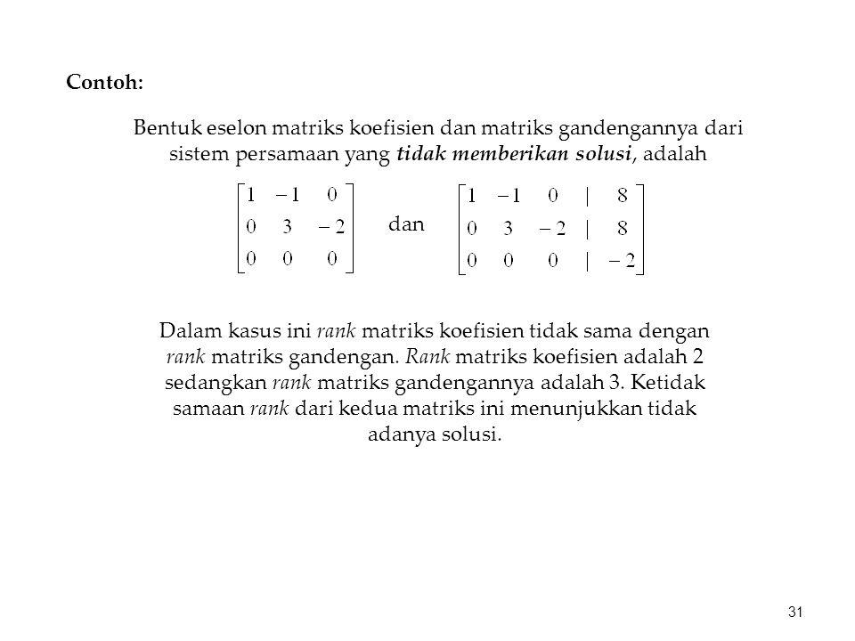 Contoh: Bentuk eselon matriks koefisien dan matriks gandengannya dari sistem persamaan yang tidak memberikan solusi, adalah dan Dalam kasus ini rank m