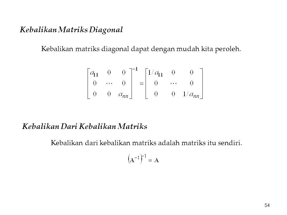 Kebalikan Matriks Diagonal Kebalikan matriks diagonal dapat dengan mudah kita peroleh. Kebalikan Dari Kebalikan Matriks Kebalikan dari kebalikan matri