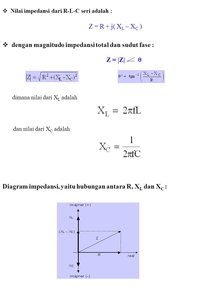  Nilai impedansi dari R-L-C seri adalah : Z = R + j( X L – X C )  dengan magnitudo impedansi total dan sudut fase : Z = |Z| θ dimana nilai dari X L adalah dan nilai dari X C adalah Diagram impedansi, yaitu hubungan antara R, X L dan X C :