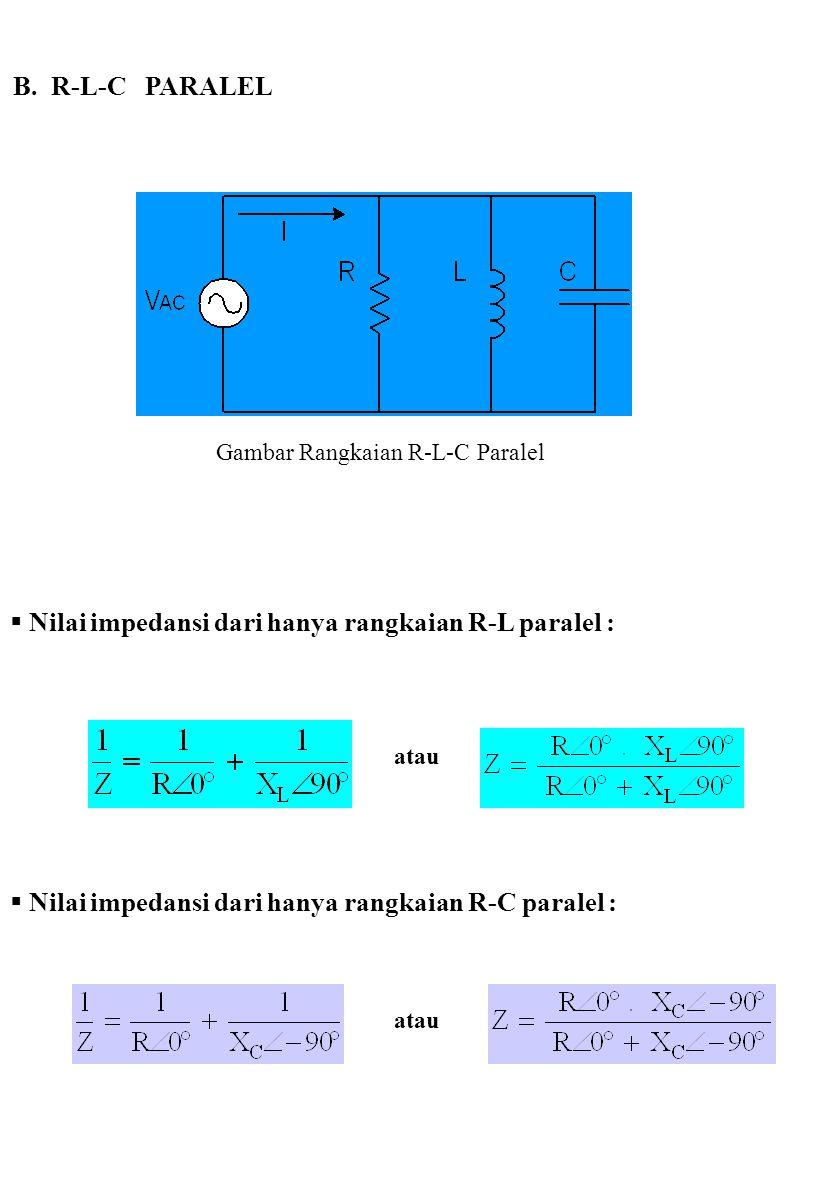 B. R-L-C PARALEL Gambar Rangkaian R-L-C Paralel  Nilai impedansi dari hanya rangkaian R-L paralel : atau  Nilai impedansi dari hanya rangkaian R-C p