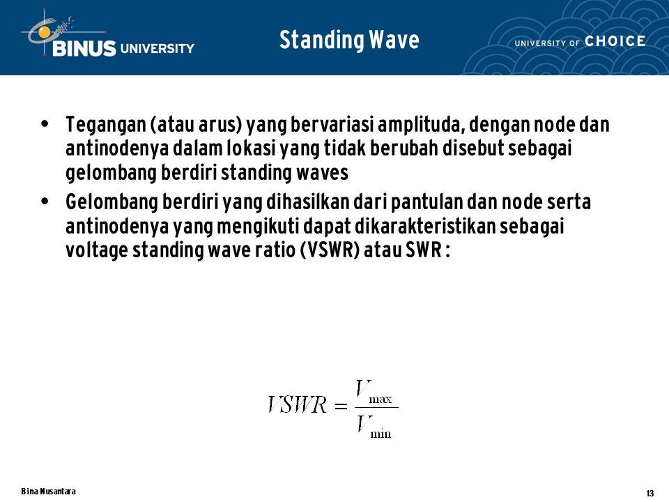 Bina Nusantara 13 Tegangan (atau arus) yang bervariasi amplituda, dengan node dan antinodenya dalam lokasi yang tidak berubah disebut sebagai gelombang berdiri standing waves Gelombang berdiri yang dihasilkan dari pantulan dan node serta antinodenya yang mengikuti dapat dikarakteristikan sebagai voltage standing wave ratio (VSWR) atau SWR : Standing Wave