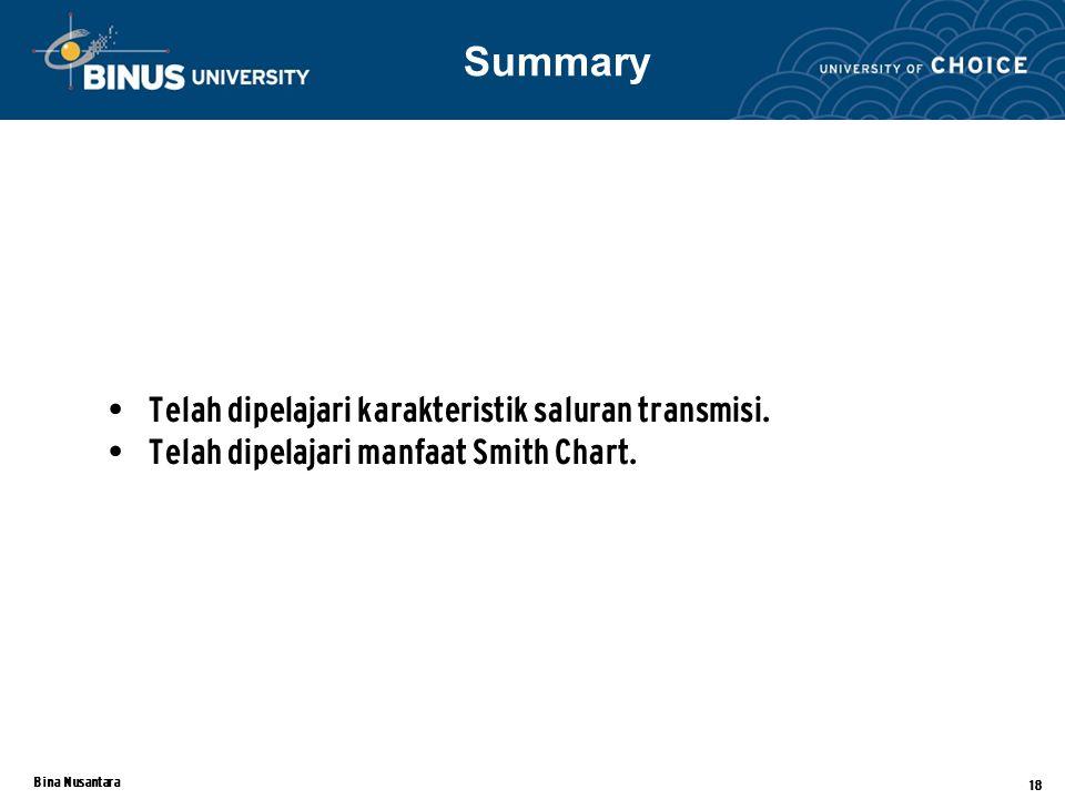Bina Nusantara 18 Telah dipelajari karakteristik saluran transmisi. Telah dipelajari manfaat Smith Chart. Summary