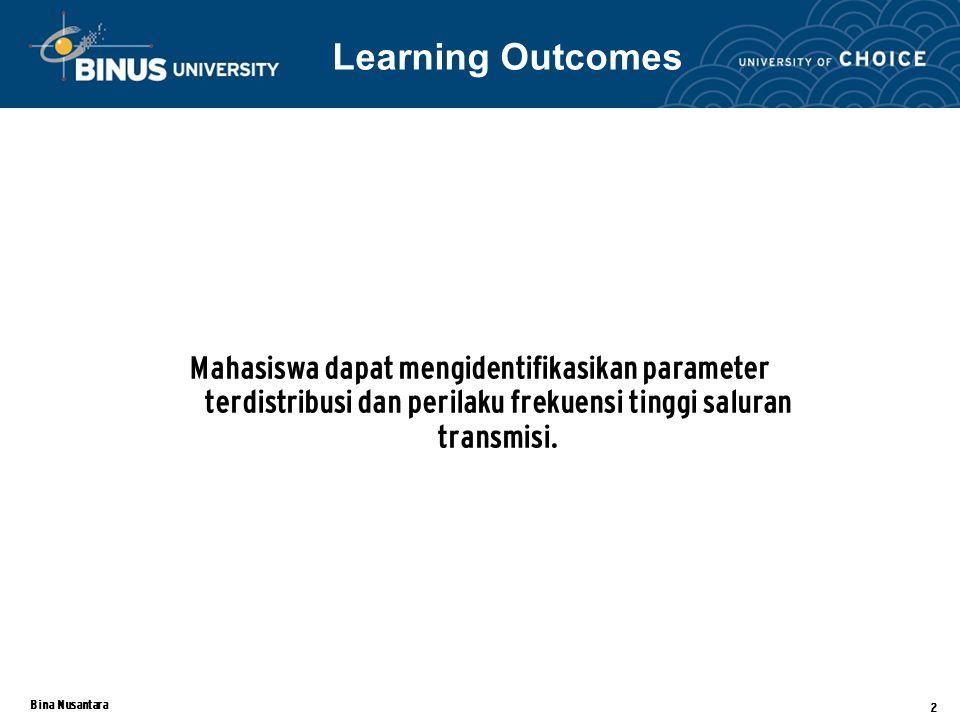 Bina Nusantara 2 Mahasiswa dapat mengidentifikasikan parameter terdistribusi dan perilaku frekuensi tinggi saluran transmisi. Learning Outcomes