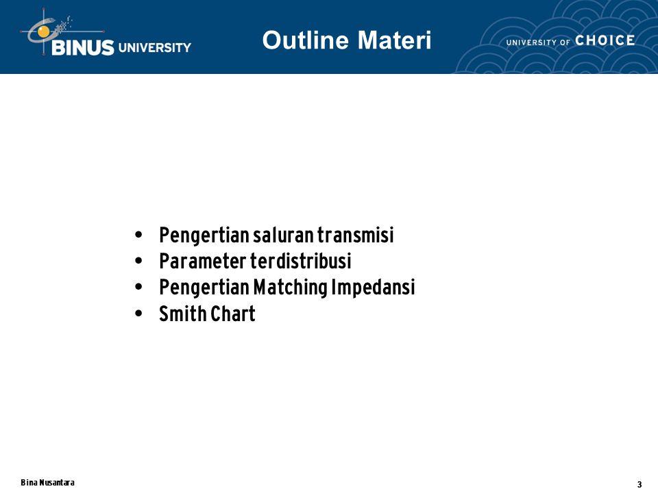 Bina Nusantara 3 Pengertian saluran transmisi Parameter terdistribusi Pengertian Matching Impedansi Smith Chart Outline Materi