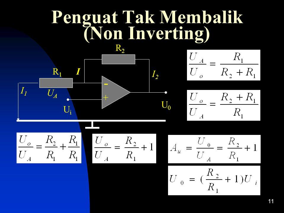 11 Penguat Tak Membalik (Non Inverting) - + I1I1 R1R1 R2R2 I I2I2 UiUi U0U0 UAUA