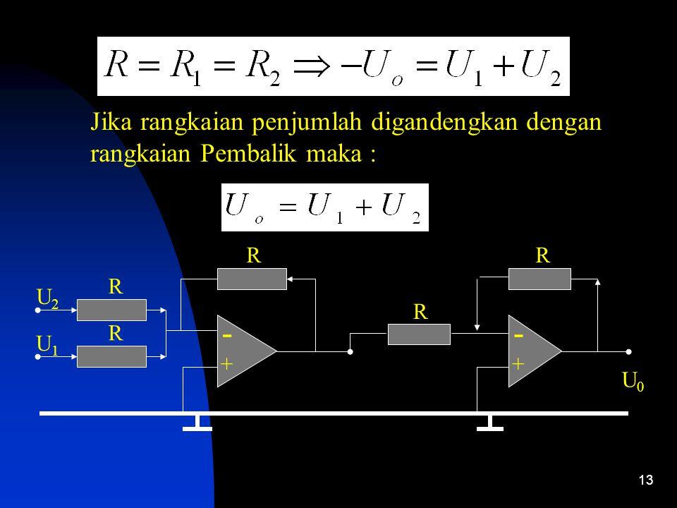 13 Jika rangkaian penjumlah digandengkan dengan rangkaian Pembalik maka : - + R R U2U2 U1U1 R - + R U0U0 R