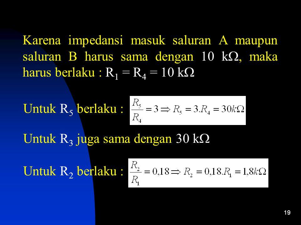 19 Karena impedansi masuk saluran A maupun saluran B harus sama dengan 10 k , maka harus berlaku : R 1 = R 4 = 10 k  Untuk R 5 berlaku : Untuk R 3 juga sama dengan 30 k  Untuk R 2 berlaku :