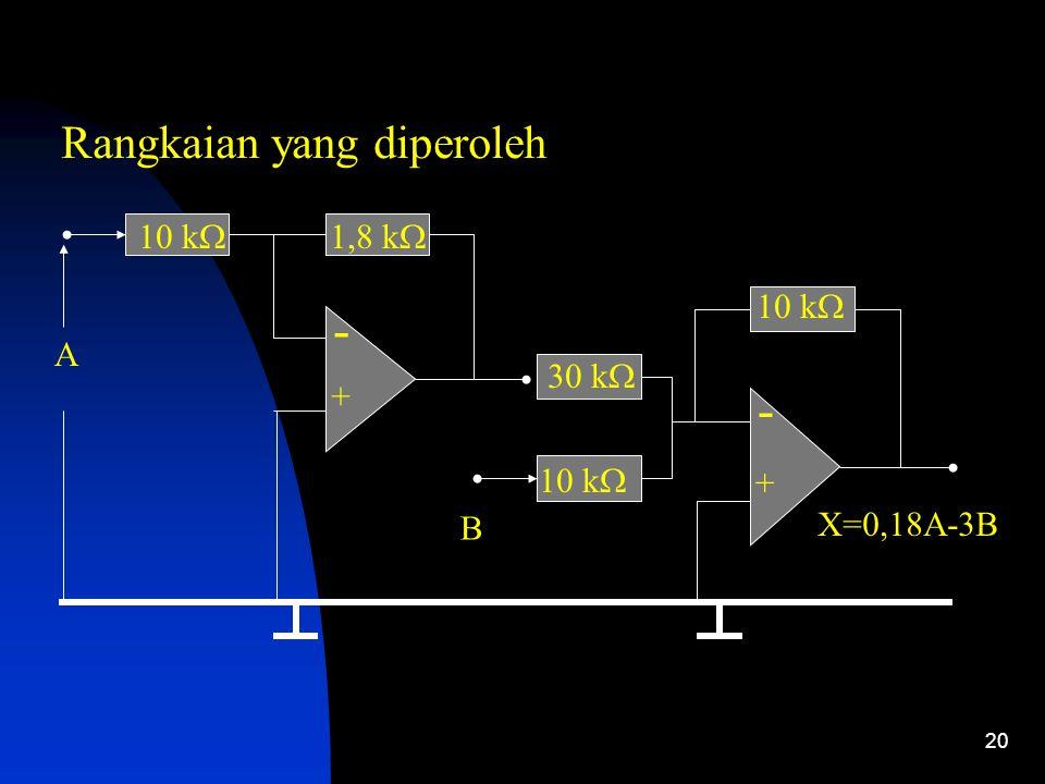 20 - + 10 k  A - + X=0,18A-3B B 1,8 k  30 k  10 k  Rangkaian yang diperoleh