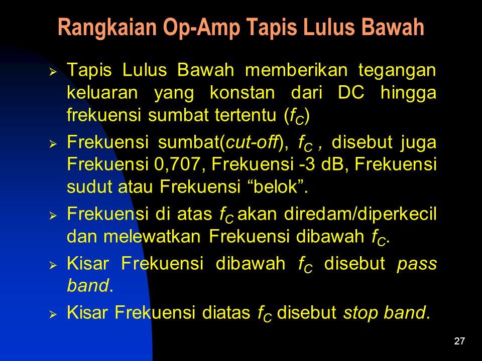 27 Rangkaian Op-Amp Tapis Lulus Bawah  Tapis Lulus Bawah memberikan tegangan keluaran yang konstan dari DC hingga frekuensi sumbat tertentu (f C )  Frekuensi sumbat(cut-off), f C, disebut juga Frekuensi 0,707, Frekuensi -3 dB, Frekuensi sudut atau Frekuensi belok .