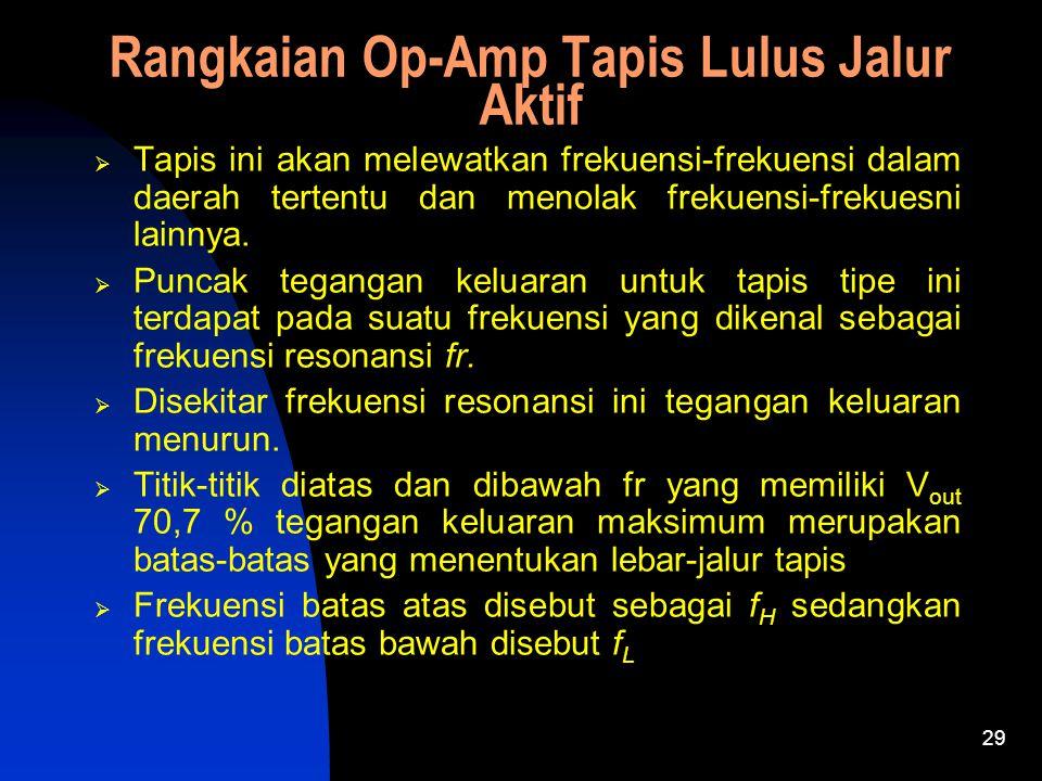 29 Rangkaian Op-Amp Tapis Lulus Jalur Aktif  Tapis ini akan melewatkan frekuensi-frekuensi dalam daerah tertentu dan menolak frekuensi-frekuesni lainnya.