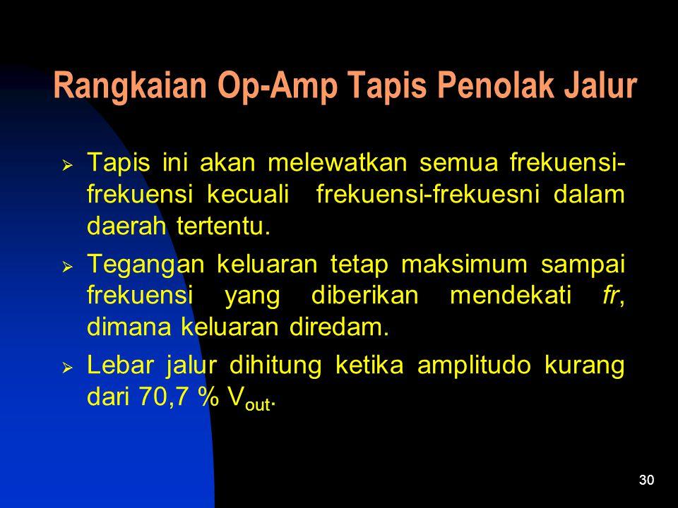 30 Rangkaian Op-Amp Tapis Penolak Jalur  Tapis ini akan melewatkan semua frekuensi- frekuensi kecuali frekuensi-frekuesni dalam daerah tertentu.  Te
