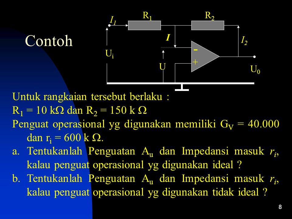 8 Contoh - + I1I1 R1R1 R2R2 I I2I2 UiUi U0U0 U Untuk rangkaian tersebut berlaku : R 1 = 10 k  dan R 2 = 150 k  Penguat operasional yg digunakan memiliki G V = 40.000 dan r i = 600 k .