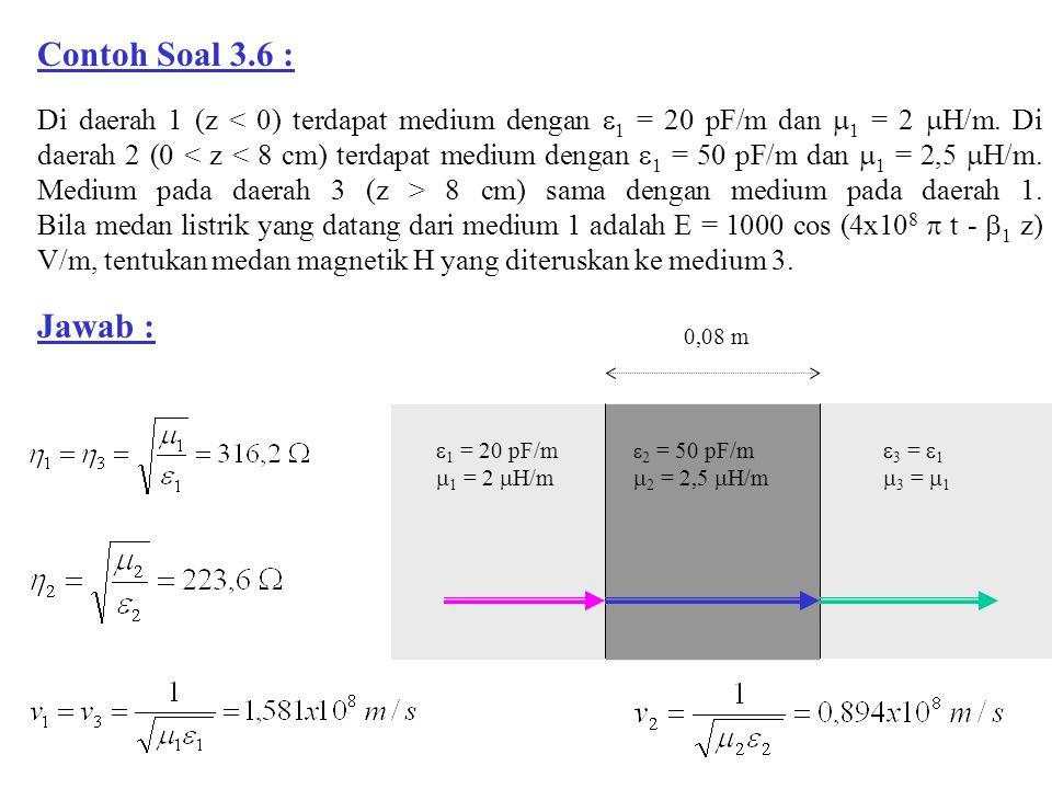 0,08 m  1 = 20 pF/m  1 = 2  H/m  2 = 50 pF/m  2 = 2,5  H/m  3 =  1  3 =  1 Di daerah 1 (z 8 cm) sama dengan medium pada daerah 1. Bila medan
