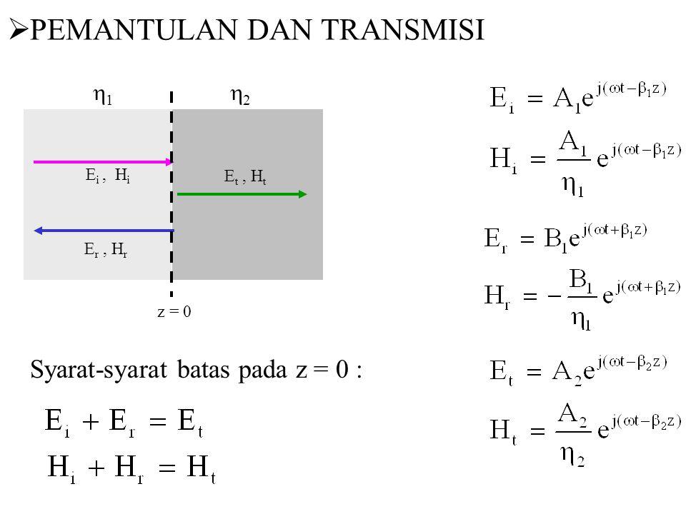  PEMANTULAN DAN TRANSMISI E i, H i E r, H r E t, H t z = 0 11 22 Syarat-syarat batas pada z = 0 :