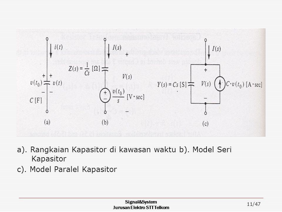 Signal&System Jurusan Elektro STT Telkom 11/47 a). Rangkaian Kapasitor di kawasan waktu b). Model Seri Kapasitor c). Model Paralel Kapasitor