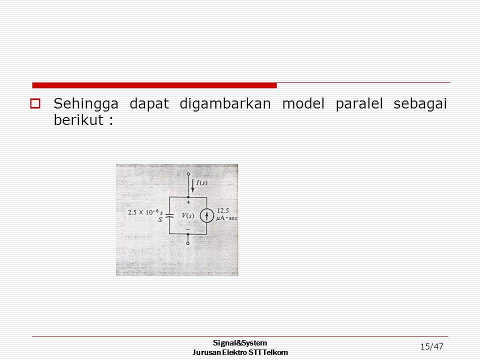 Signal&System Jurusan Elektro STT Telkom 15/47  Sehingga dapat digambarkan model paralel sebagai berikut :