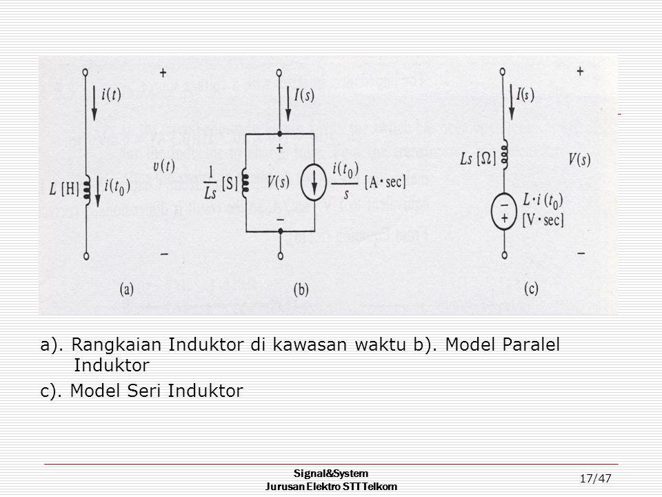 Signal&System Jurusan Elektro STT Telkom 17/47 a). Rangkaian Induktor di kawasan waktu b). Model Paralel Induktor c). Model Seri Induktor