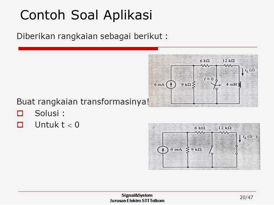 Signal&System Jurusan Elektro STT Telkom 20/47 Contoh Soal Aplikasi Diberikan rangkaian sebagai berikut : Buat rangkaian transformasinya!!!!  Solusi