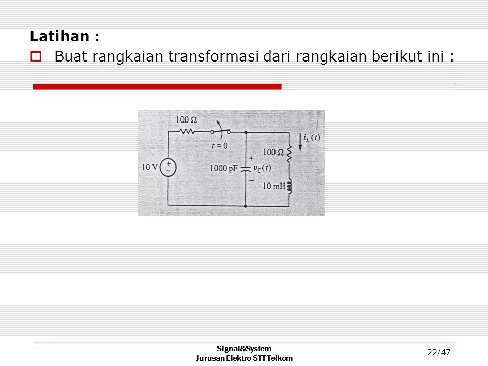 Signal&System Jurusan Elektro STT Telkom 22/47 Latihan :  Buat rangkaian transformasi dari rangkaian berikut ini :
