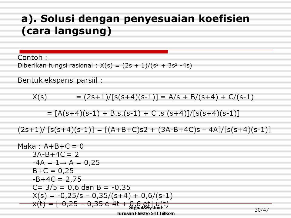 Signal&System Jurusan Elektro STT Telkom 30/47 a). Solusi dengan penyesuaian koefisien (cara langsung) Contoh : Diberikan fungsi rasional : X(s) = (2s