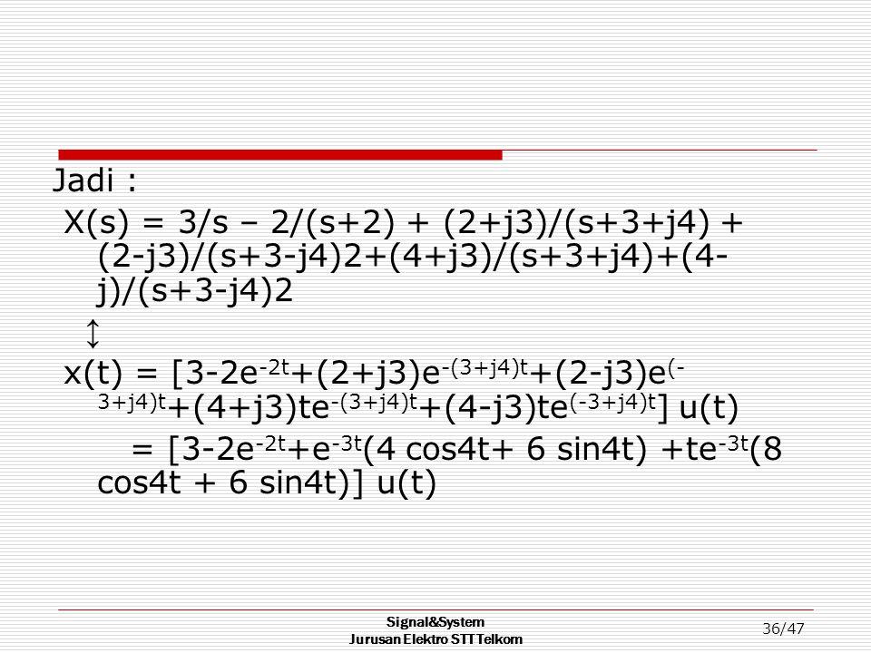 Signal&System Jurusan Elektro STT Telkom 36/47 Jadi : X(s) = 3/s – 2/(s+2) + (2+j3)/(s+3+j4) + (2-j3)/(s+3-j4)2+(4+j3)/(s+3+j4)+(4- j)/(s+3-j4)2 ↕ x(t