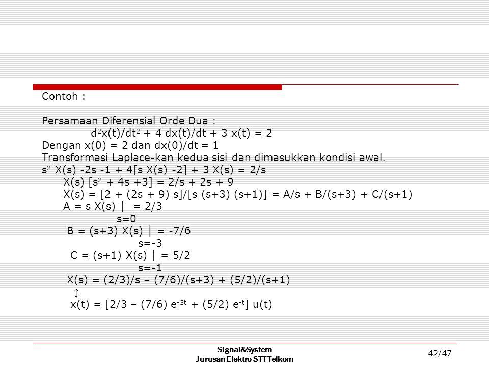 Signal&System Jurusan Elektro STT Telkom 42/47 Contoh : Persamaan Diferensial Orde Dua : d 2 x(t)/dt 2 + 4 dx(t)/dt + 3 x(t) = 2 Dengan x(0) = 2 dan d