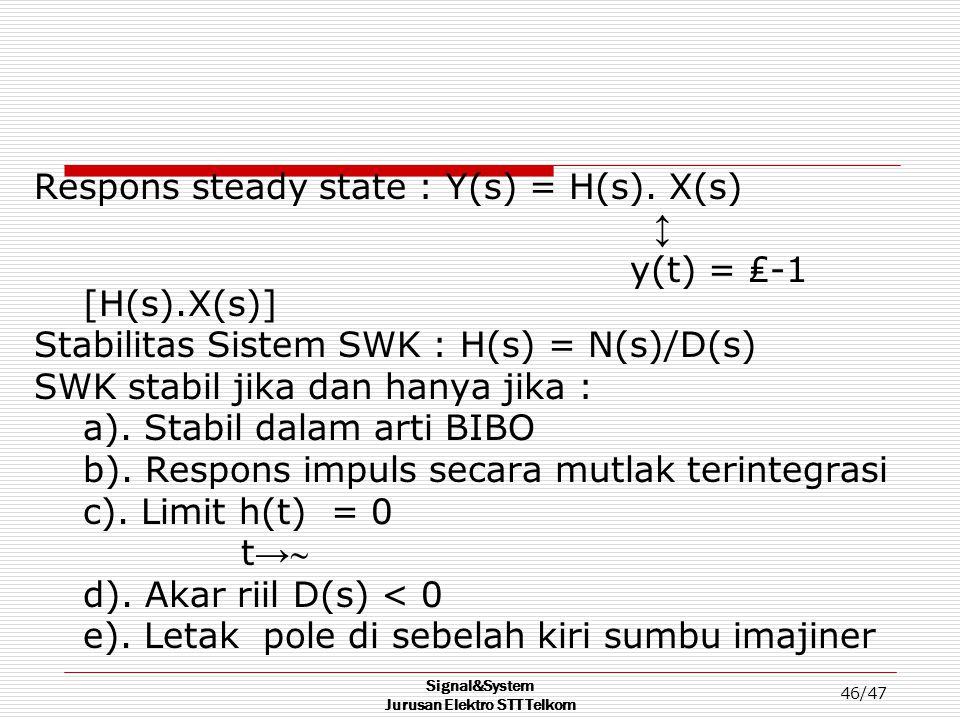 Signal&System Jurusan Elektro STT Telkom 46/47 Respons steady state : Y(s) = H(s). X(s) ↕ y(t) = ₤-1 [H(s).X(s)] Stabilitas Sistem SWK : H(s) = N(s)/D