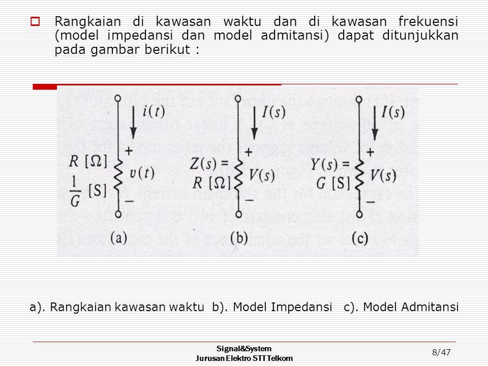 Signal&System Jurusan Elektro STT Telkom 8/47  Rangkaian di kawasan waktu dan di kawasan frekuensi (model impedansi dan model admitansi) dapat ditunj