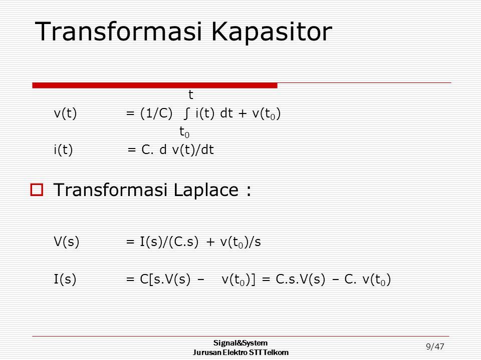 Signal&System Jurusan Elektro STT Telkom 9/47 Transformasi Kapasitor t v(t)= (1/C) ∫ i(t) dt + v(t 0 ) t 0 i(t) = C. d v(t)/dt  Transformasi Laplace