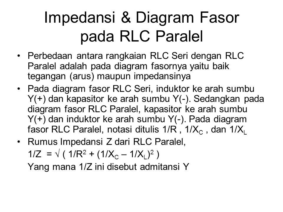 Impedansi & Diagram Fasor pada RLC Paralel Perbedaan antara rangkaian RLC Seri dengan RLC Paralel adalah pada diagram fasornya yaitu baik tegangan (ar