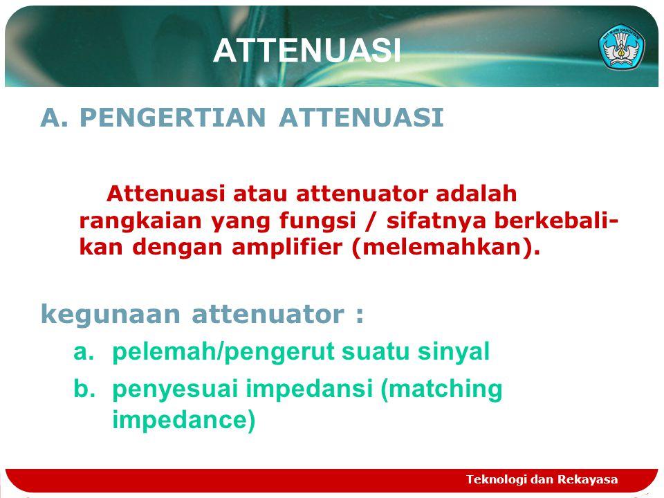 Teknologi dan Rekayasa ATTENUASI A.PENGERTIAN ATTENUASI Attenuasi atau attenuator adalah rangkaian yang fungsi / sifatnya berkebali- kan dengan amplif