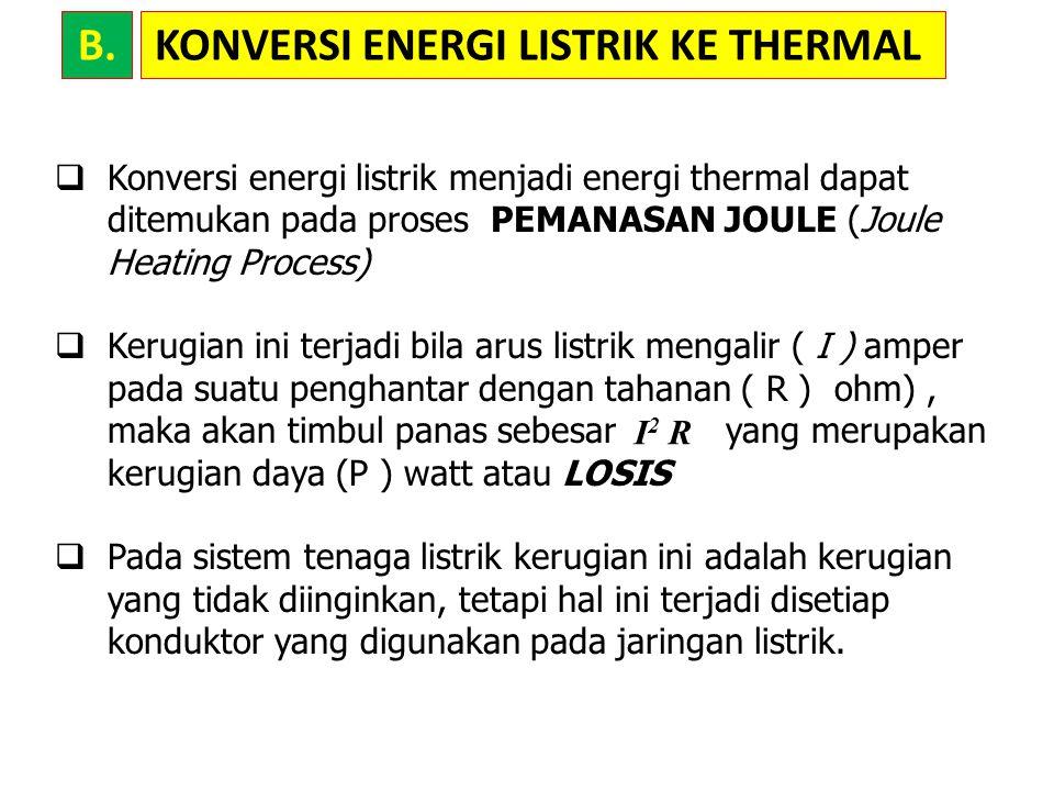 KONVERSI ENERGI LISTRIK KE THERMAL  Kerugian faktor daya, jika energi listrik melalui sebuah kapasitor atau sebuah kumparan induksi, sebagian energi disimpan dalam medan listrik dan medan magnet sesuai dengan impedansinya.