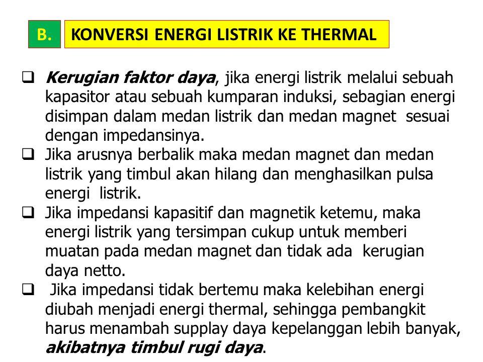 KONVERSI ENERGI LISTRIK KE THERMAL  Kerugian faktor daya, jika energi listrik melalui sebuah kapasitor atau sebuah kumparan induksi, sebagian energi