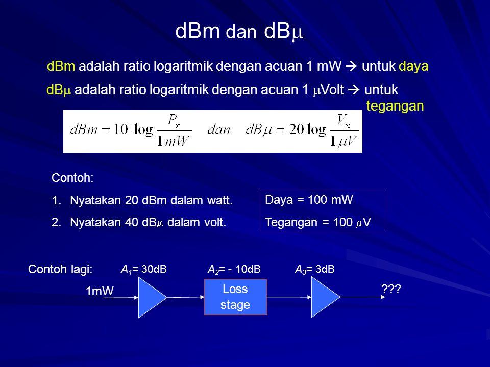 dBm dan dB  dBm adalah ratio logaritmik dengan acuan 1 mW  untuk daya dB  adalah ratio logaritmik dengan acuan 1  Volt  untuk tegangan Contoh: 1.