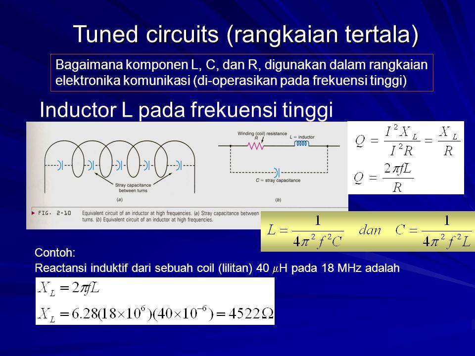 Bagaimana komponen L, C, dan R, digunakan dalam rangkaian elektronika komunikasi (di-operasikan pada frekuensi tinggi) Tuned circuits (rangkaian terta