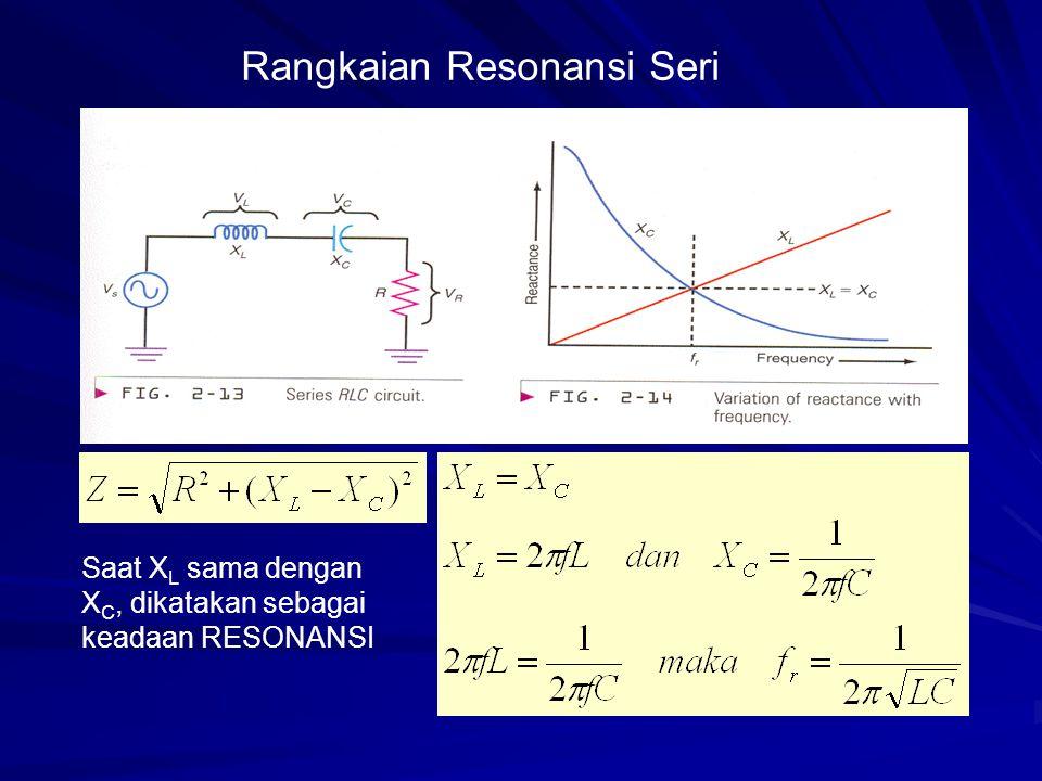 Rangkaian Resonansi Seri Saat X L sama dengan X C, dikatakan sebagai keadaan RESONANSI
