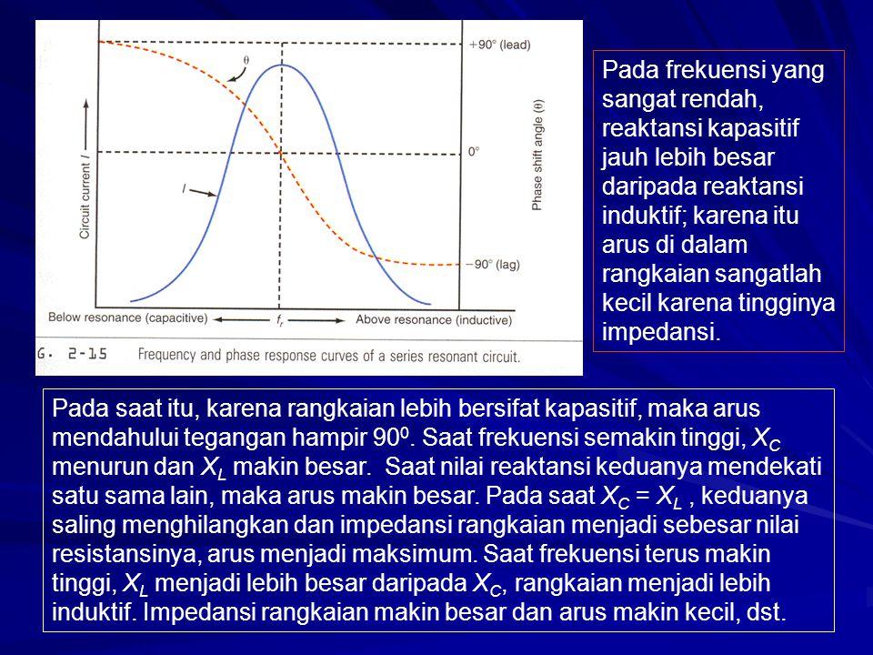 Pada frekuensi yang sangat rendah, reaktansi kapasitif jauh lebih besar daripada reaktansi induktif; karena itu arus di dalam rangkaian sangatlah keci