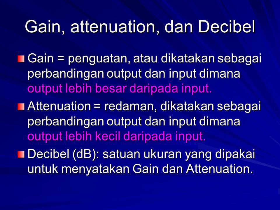 Gain, attenuation, dan Decibel Gain = penguatan, atau dikatakan sebagai perbandingan output dan input dimana output lebih besar daripada input. Attenu