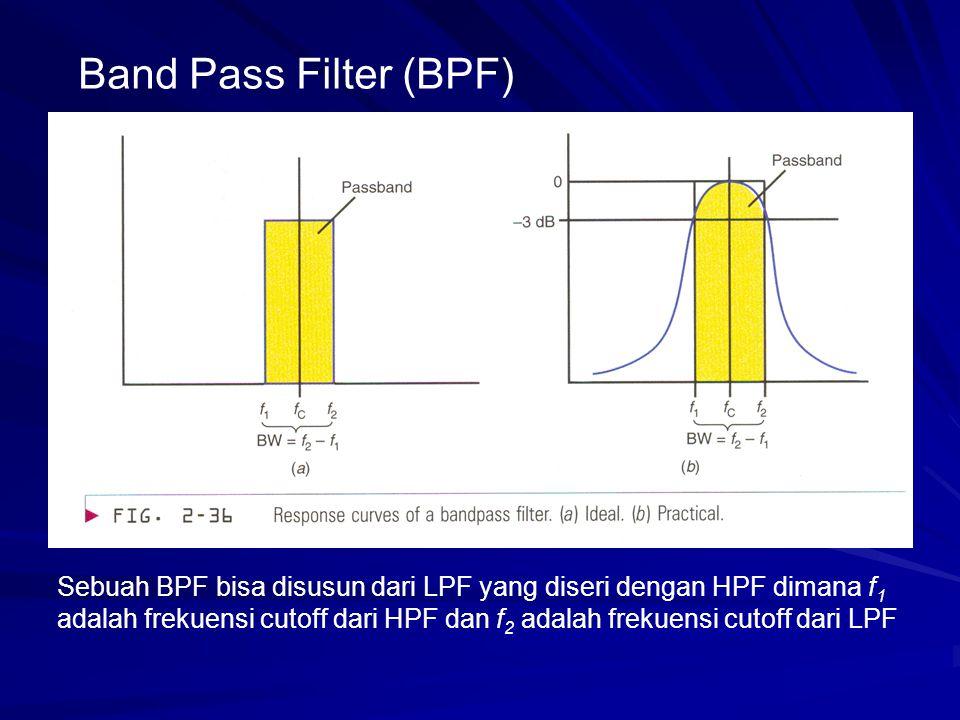 Band Pass Filter (BPF) Sebuah BPF bisa disusun dari LPF yang diseri dengan HPF dimana f 1 adalah frekuensi cutoff dari HPF dan f 2 adalah frekuensi cu