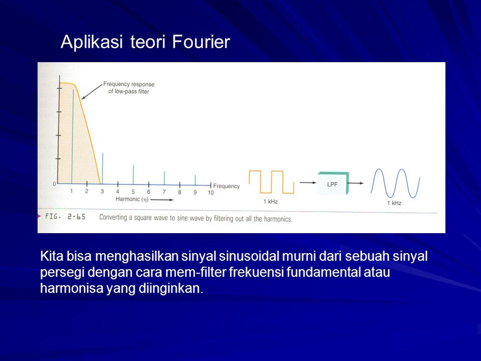 Aplikasi teori Fourier Kita bisa menghasilkan sinyal sinusoidal murni dari sebuah sinyal persegi dengan cara mem-filter frekuensi fundamental atau har