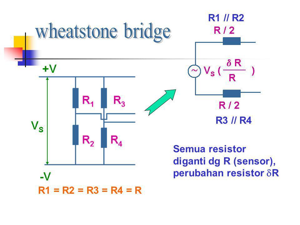 Semua resistor diganti dg R (sensor), perubahan resistor  R R1 = R2 = R3 = R4 = R R1 // R2 R3 // R4