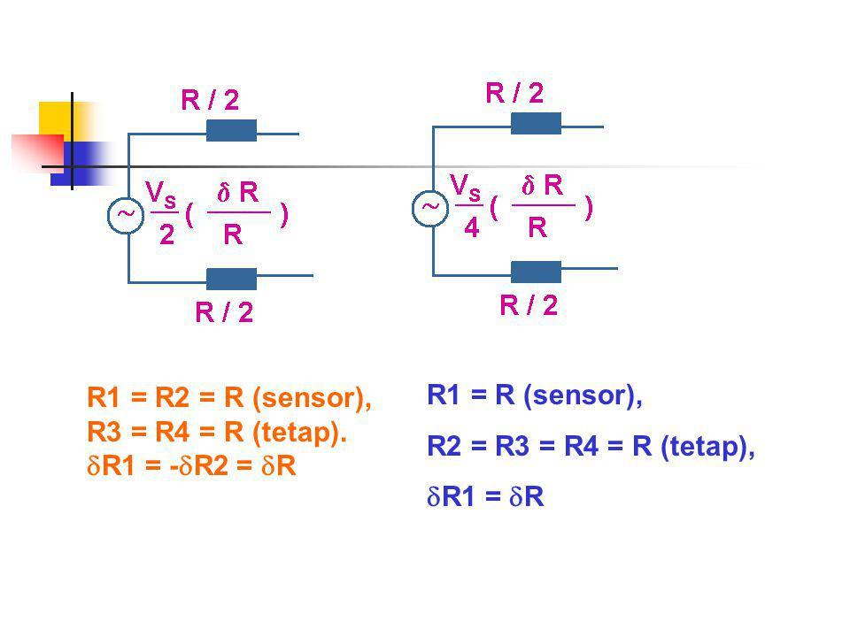 R1 = R2 = R (sensor), R3 = R4 = R (tetap).  R1 = -  R2 =  R R1 = R (sensor), R2 = R3 = R4 = R (tetap),  R1 =  R