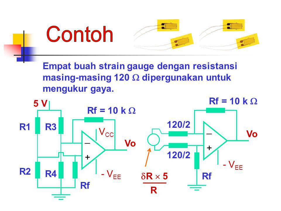 Empat buah strain gauge dengan resistansi masing-masing 120  dipergunakan untuk mengukur gaya. + _ - V EE Vo Rf = 10 k  R1 R2 R3 R4 Rf + _ - V EE Vo