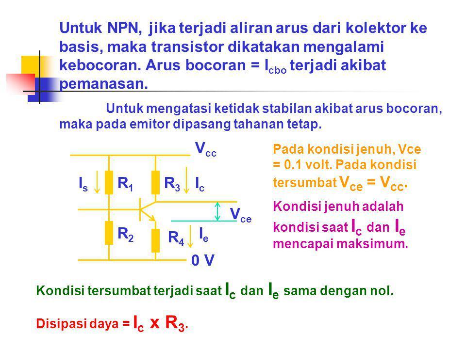 Untuk NPN, jika terjadi aliran arus dari kolektor ke basis, maka transistor dikatakan mengalami kebocoran. Arus bocoran = I cbo terjadi akibat pemanas