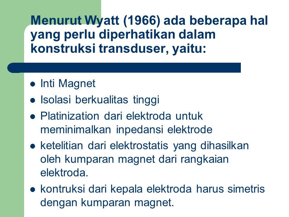 Menurut Wyatt (1966) ada beberapa hal yang perlu diperhatikan dalam konstruksi transduser, yaitu: Inti Magnet Isolasi berkualitas tinggi Platinization