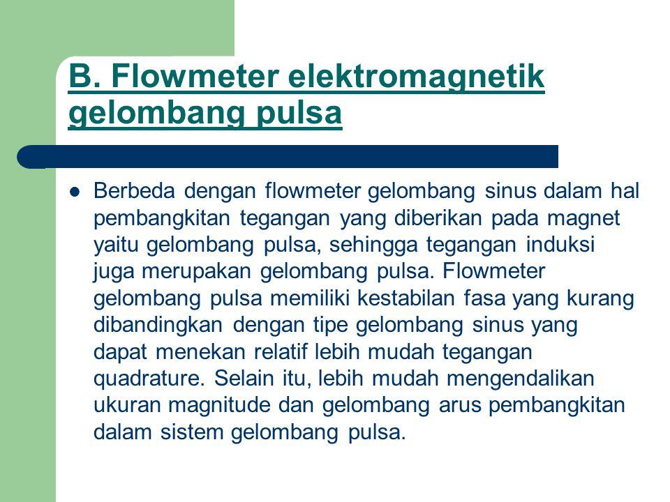 B. Flowmeter elektromagnetik gelombang pulsa Berbeda dengan flowmeter gelombang sinus dalam hal pembangkitan tegangan yang diberikan pada magnet yaitu