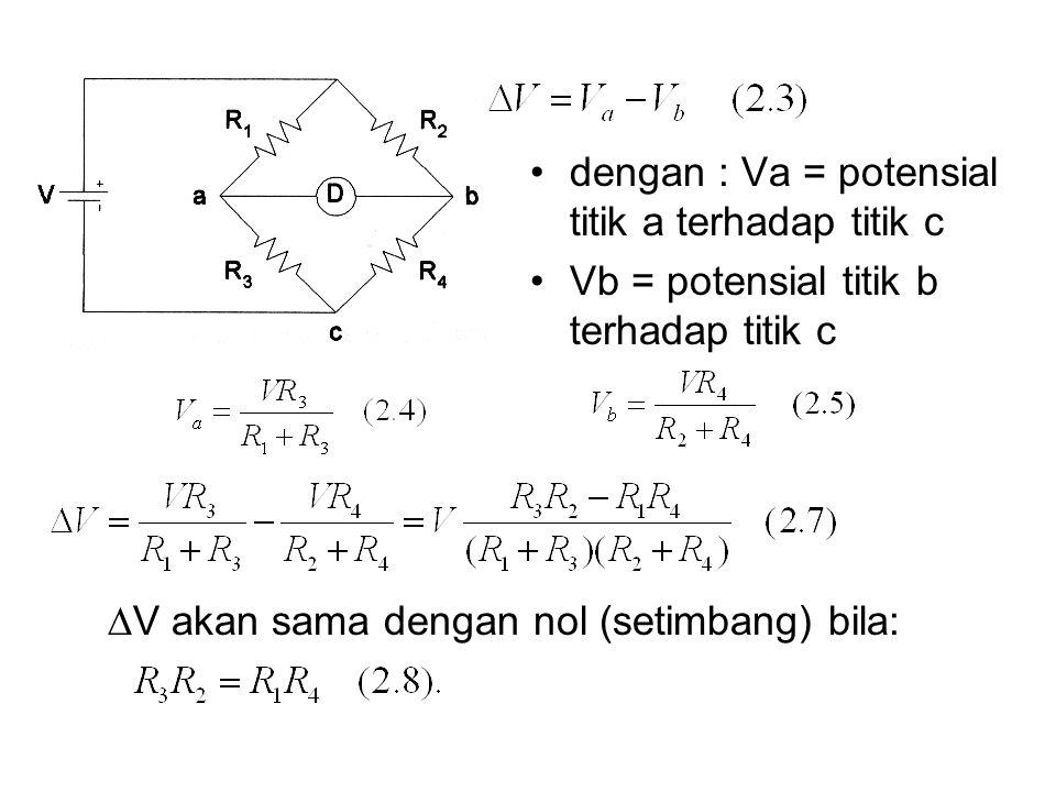 dengan : Va = potensial titik a terhadap titik c Vb = potensial titik b terhadap titik c  V akan sama dengan nol (setimbang) bila: