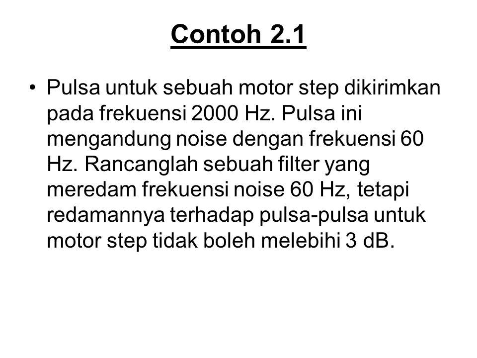 Contoh 2.1 Pulsa untuk sebuah motor step dikirimkan pada frekuensi 2000 Hz. Pulsa ini mengandung noise dengan frekuensi 60 Hz. Rancanglah sebuah filte