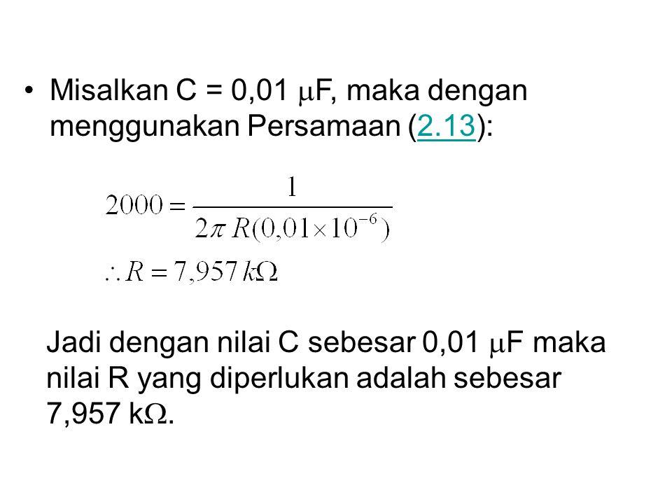 Misalkan C = 0,01  F, maka dengan menggunakan Persamaan (2.13):2.13 Jadi dengan nilai C sebesar 0,01  F maka nilai R yang diperlukan adalah sebesar